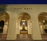 The beautiful Pasadena City Hall near Los Angeles, California. The beautiful night scene of Pasadena City Hall near Los Angeles, California Stock Photo