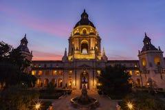 The beautiful Pasadena City Hall near Los Angeles, California. The beautiful sunset scene of Pasadena City Hall near Los Angeles, California Stock Photo