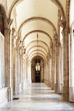 The beautiful passage with arches in the Royal Palace of Madrid Royalty Free Stock Photos