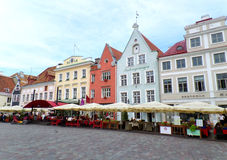 Beautiful Pastel Colors Architectures of the Town Hall Square in Tallinn, Estonia Stock Image