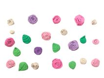 Beautiful pastel flower plasticine clay, cute wallpaper floral dough. Beautiful pastel flower and leaf made from plasticine clay are arranged disrupted on white stock image