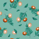 Beautiful pastel l  seamless pattern kiwi fruit slices with palm. Leaves on sweet green mint  color background  in hand drawing style for summer Stock Image