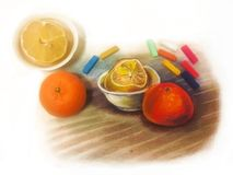 Beautiful pastel painting and still life, served as a model. Fruits: lemon and orange tangerine stock images