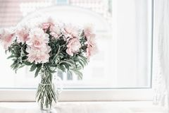Free Beautiful Pastel Pink Bouquet Of Peonies In Glass Vase On Windowsill. Flowers In Interior Design. Stock Image - 105161041