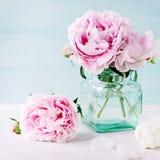 Beautiful pastel pink peony bouquet royalty free stock photo