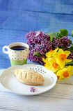 Beautiful pastry and flowers Stock Photography