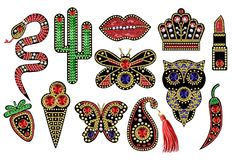 Beautiful patches with sequins, beads. And precious stones for textile design or printing Royalty Free Stock Images