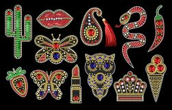 Beautiful patches with sequins, beads. And precious stones for textile design or printing Stock Photos