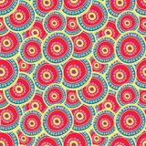 Bright crimson circles layering on each other. vector illustration