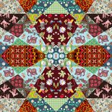 Beautiful patchwork blanket with cheerful monkeys, cute cartoon elephants, cranes, raccoons and bright floral and geometric prints.  Royalty Free Stock Photos