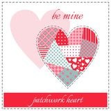 Beautiful patchwork heart. Elegant greeting card for Valentine's day Royalty Free Stock Image