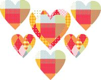 Beautiful patchwork hearts. Cute vector illustration Royalty Free Stock Photography