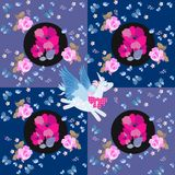 Beautiful patchwork pattern with flying unicorn, bouquets of poppy flowers, pink roses, blue butterflies and little birds. Beautiful patchwork pattern with royalty free illustration