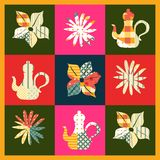 Beautiful patchwork pattern with teapots and flowers. Stock Images