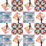 Beautiful patchwork quilt. On the border of autumn and winter. Stock Photos
