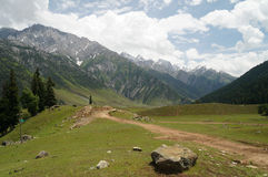 Beautiful path to snow mountains, Sonamarg Royalty Free Stock Photos