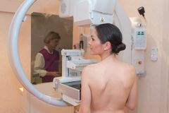 Beautiful patient in middle mammography Stock Image