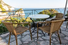 Beautiful patio with a sea view stock photography