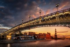 Beautiful Patriarshy bridge in Moscow. Sunset View of Bridge on Moscow River royalty free stock photos