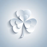 Beautiful Patricks day card with grey leaf clover Royalty Free Stock Photo