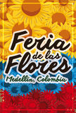 Beautiful Patriotic Floral Design for Colombian Festival of the Flowers, Vector Illustration. Banner with a beautiful floral carpet like Colombian flag over Royalty Free Stock Photos