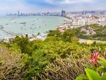 Beautiful of Pattaya bay view on Pratamnak Hill with blue sky ba Royalty Free Stock Photography
