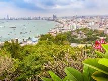 Beautiful of Pattaya bay view on Pratamnak Hill with blue sky ba Royalty Free Stock Photo