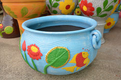 Beautiful pattern of blue pottery Royalty Free Stock Photography