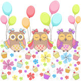 Beautiful pattern card with owls, flowers, cakes and balloons Stock Image