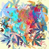 Beautiful pattern with colorful spots and leafs in watercolor co. Lorful style stock illustration