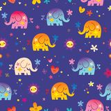 Cute elephants and flowers seamless pattern Stock Photos