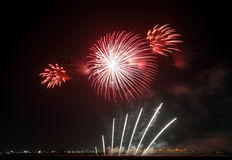 Beautiful pattern diaplay by Fireworks at F1 Circuit Bahrain Royalty Free Stock Photo
