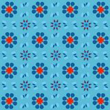 Beautiful pattern of florals in red and blue over light blue background vector illustration