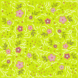 Beautiful pattern with flowers and calligraphic lines. On green background. Can be used in print, fabric, textile, wrapping, wallpaper and so on. Vector Royalty Free Stock Images