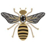 Beautiful pattern of flying bees shiny gold and black print with precious rhinestones, embroidery and jewelry. Stock Photography