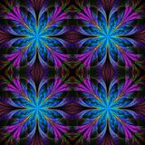 Beautiful pattern from fractal flowers. Blue and purple palette. Royalty Free Stock Image