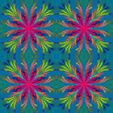 Beautiful pattern from fractal flowers. Blue and purple palette. Stock Image