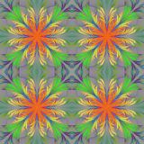 Beautiful pattern from fractal flowers. Orange, green and gray p Royalty Free Stock Photography