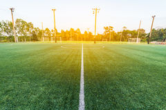 Beautiful pattern of fresh green grass for football sport. Football field, soccer field, team sport texture Royalty Free Stock Photos