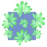 Beautiful pattern with green leaves on blue background Stock Photos