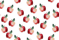Beautiful pattern with hand drawn elements - cute apples waterco Royalty Free Stock Image