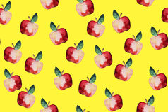 Beautiful pattern with hand drawn elements - cute apples waterco Stock Photo
