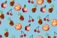 Beautiful pattern with hand drawn elements - cute fruit slices w Royalty Free Stock Photo
