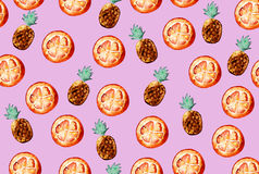 Beautiful pattern with hand drawn elements - cute pineapples and. Orange slices watercolor on pink background. Illustration Royalty Free Stock Image