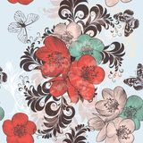 Beautiful pattern illustration with hand drawn poppy flowers in Stock Photo