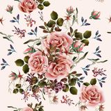 Beautiful pattern illustration with purple flowers in vintage st Royalty Free Stock Images