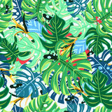 Beautiful pattern leaves monstera and frogs. Graphic pattern with bright leaves monstera and frogs on a light background Royalty Free Stock Photos