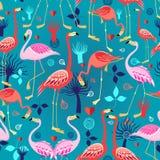 Beautiful pattern lovers flamingos Royalty Free Stock Photos