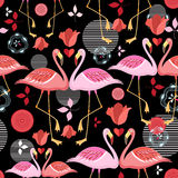 Beautiful pattern lovers flamingos. Seamless pattern of red and pink flamingos on a black background stock illustration