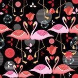 Beautiful pattern lovers flamingos Stock Photography